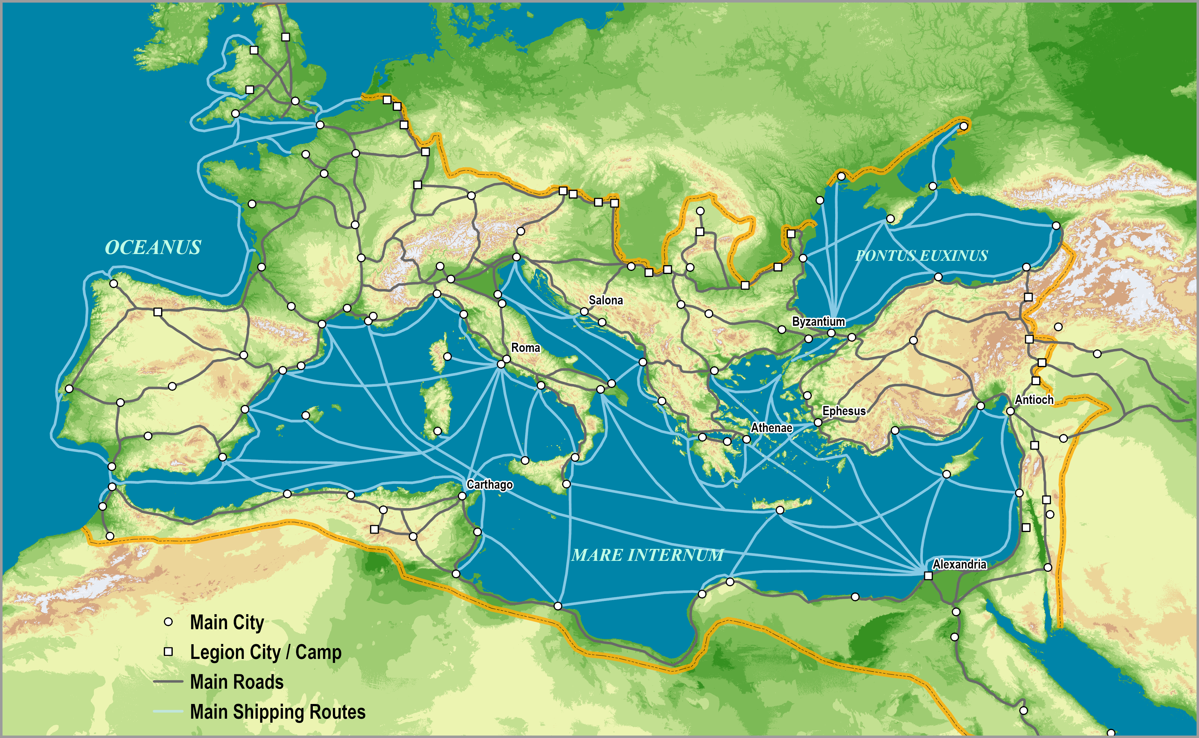 The Roman Empire, c125 AD | The Geography of Transport Systems