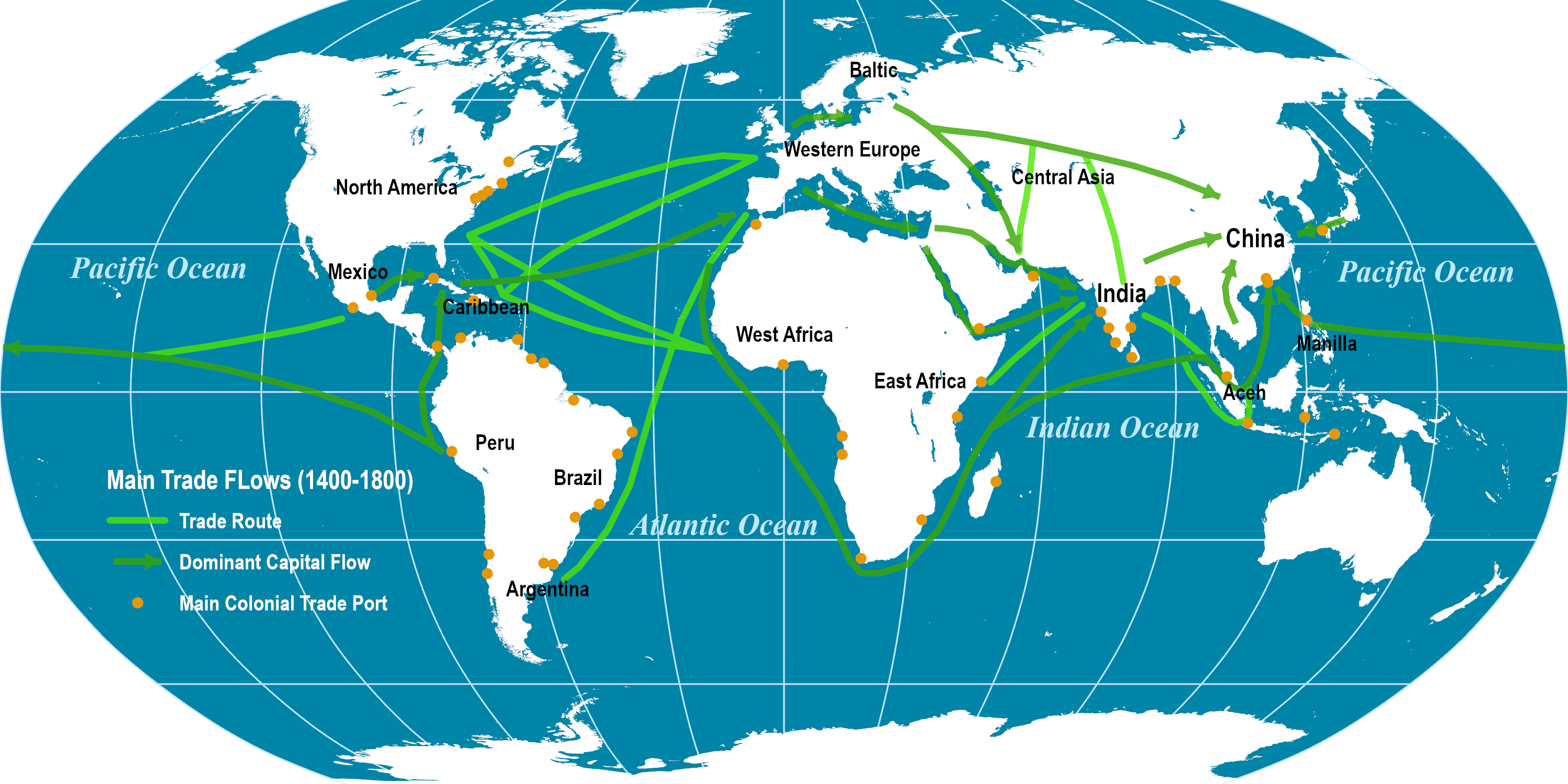 Major Global Trade Routes, 1400-1800 | The Geography of ...