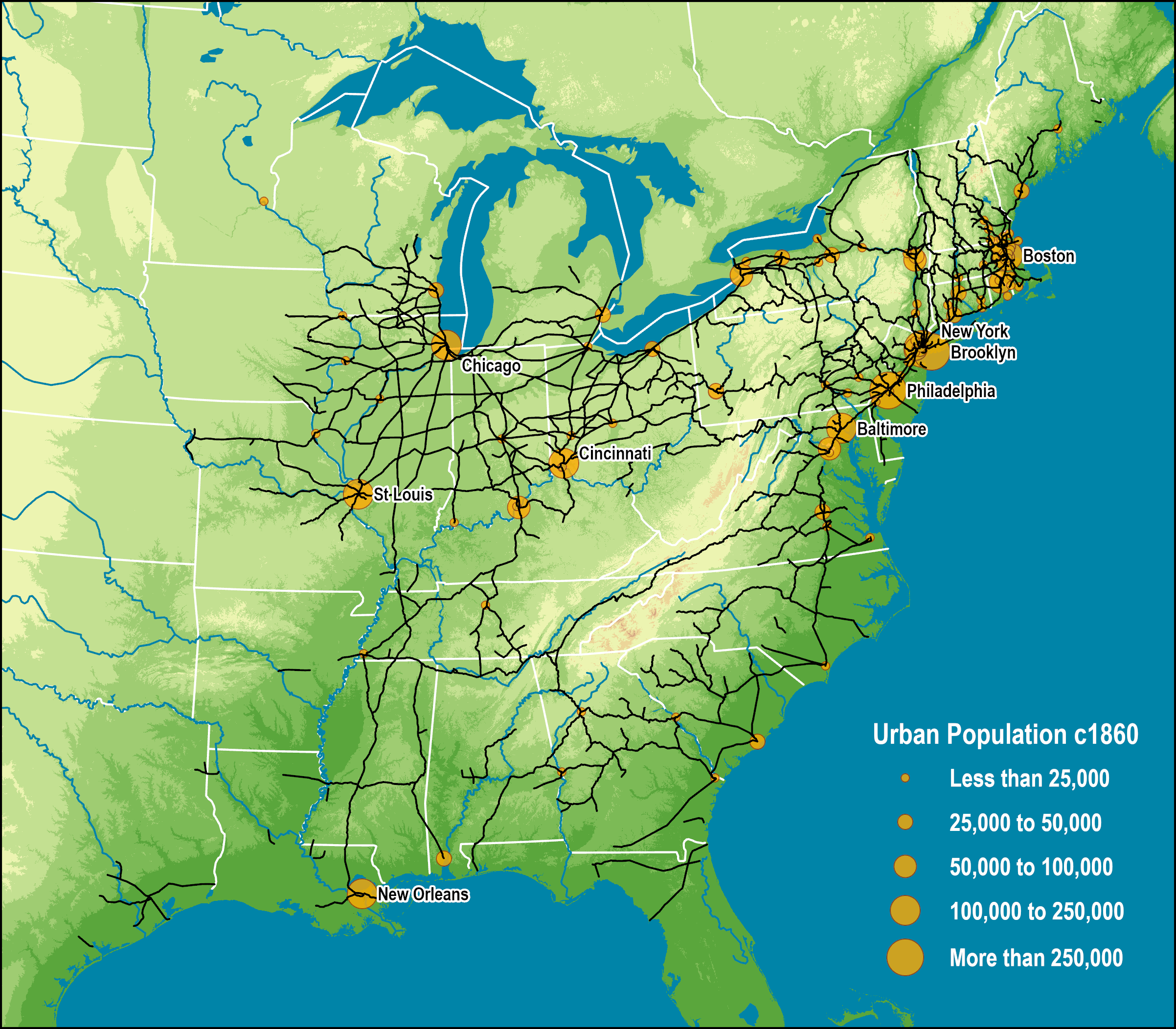 American Rail Network, 1861 | The Geography of Transport Systems
